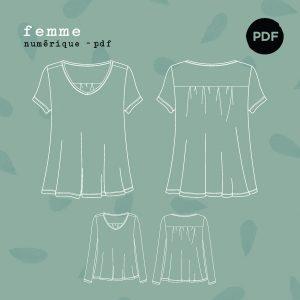 Patron PDF – T-Shirt Jasmin FR/ENG (34-52)